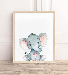 So people that come can write their names on it Baby Elephant Nursery, Elephant Canvas, Animal Nursery, Nursery Drawings, Nursery Paintings, Baby Motiv, Baby Elefant, Images Disney, Nursery Canvas