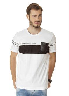 24493a66d3 Blusa com Recorte de Tecido e Bolso Branco Bgo - BGO Company