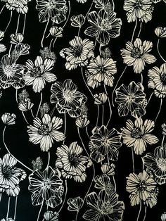 Black/White Floral Stretch Cotton Poplin - Sew Much Fabric