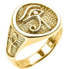 Men's Polished 14k Yellow Gold Eye of Horus Ring with Egyptian Ankh... ($500) ❤ liked on Polyvore featuring men's fashion, men's jewelry, men's rings, mens 14k gold rings, mens cross ring, mens crucifix ring, mens watches jewelry and mens gold rings