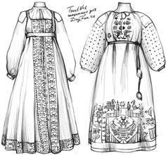 Как нарисовать русский народный костюм карандашом поэтапно 5