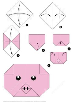 How to Make an Origami Pig Face Instructions Paper crafts Dragon Origami, Origami Pig, Origami Rose, Origami Simple, Easy Origami For Kids, Origami Paper Folding, Origami Ball, Paper Crafts Origami, Useful Origami