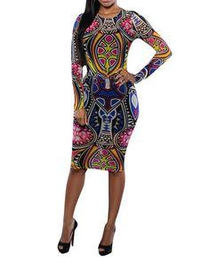 Womens Long Sleeve African Tribal Print Midi Sheath Dress