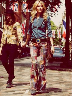 Holy hippy patchwork, Batman...these are awesome!!  Free People Patchwork Corduroy Flare, $148.00