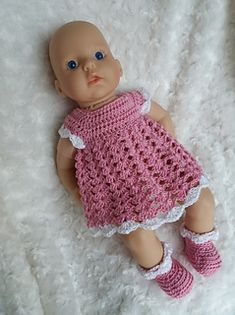 26 Ideas For Baby Born Clothes Pattern Free Crochet Dresses baby doll clothes 26 Ideas For Baby Born Clothes Pattern Free Crochet Dresses Knitting Dolls Clothes, Crochet Doll Clothes, Knitted Dolls, Baby Annabell Kleidung, Baby Knitting Patterns, Crochet Patterns, Free Knitting, Baby Born Kleidung, Baby Born Clothes