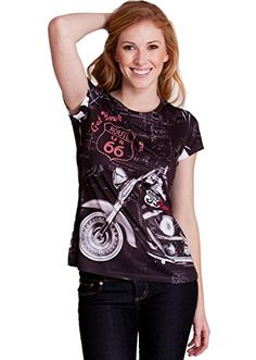 Black Woman Jeweled Route 66 Motorcycle Graphic TShirt * Check out the image by visiting the link.
