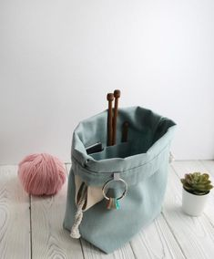 Knitting Crochet BUCKET BIn Project Bag NAVY BLUE Canvas Drawstring Bag