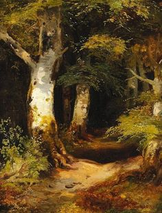 Albert August Zimmermann (1808-1888) - Forest road, oil on cardboard, 34,5 x 27,5 cm