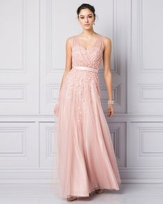 A blushing bride is daring in a rose quartz bridal gown #lechateau #lewedding #styledowntheaisle