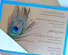Peacock wedding invitation gold teal aqua ribbon