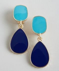 Kenneth Jay Lane : turquoise and navy enamel drop earrings