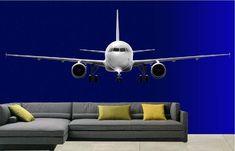 Een mooie full colour muursticker van een vliegtuig, in diverse formaten verkrijgbaar.