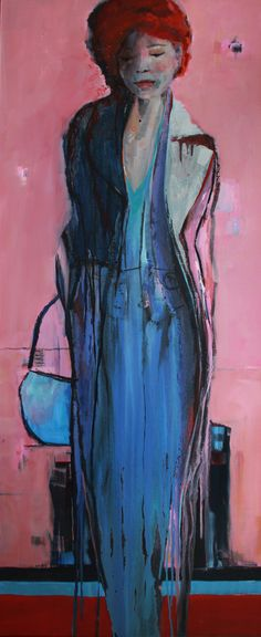 Woman in Purple Vrij werk, gelaagd olieverf op linnen. Met baklijst. Uit serie vrouwen/meisjes. Marga Klumper