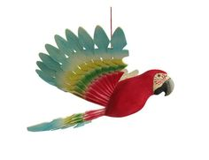 Woodland Mobile Parrot Wood Carving Wooden Bird Kids by MyFanbirds