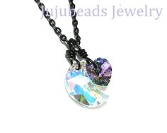 Swarovski Crystal Moon and Heart Necklace