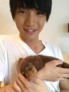 Sota Fukushi and 50-day-old puppy