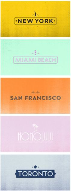 Textured backgrounds and sans-serif fonts for these pretty #travelcolorfully location posters