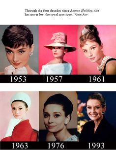 Through the four decades since Roman Holiday...pics of A.H. from 1953 - 1993.