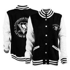 Women's Pittsburgh Penguins Old Time Hockey Black/Cream Meghan Varsity Fleece Jacket