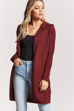 """Ribbed Knit Hooded Longline Cardigan"" Loving this outfit especially the color of the cardigan, perfect for fall."