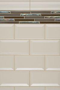 modren kitchen backsplash subway tile with accent red in dichroic