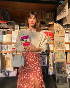 French Style: Jeanne Damas wearing a Rouje midi skirt and vintage off-white card. - French Style: Jeanne Damas wearing a Rouje midi skirt and vintage off-white cardigan in Paris, in f - Jeanne Damas, French Girl Style, French Girls, French Chic, How To Wear Jeans, Parisienne Style, Parisian Chic Style, Paris Outfits, Paris Spring Outfit