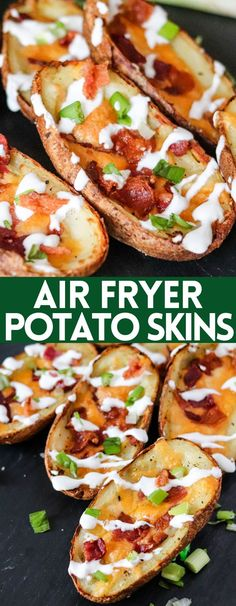 These Air Fryer Potato Skins use cooked potatoes and take less than 10 minutes to make! Serve these on game-day or as a delicious appetizer! Air Fryer Recipes Easy, Easy Appetizer Recipes, Yummy Appetizers, Making Baked Potatoes, How To Cook Potatoes, Fast Healthy Meals, Easy Meals, Air Frier Recipes, Allergy Free Recipes