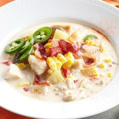Stay warm this fall with our Spicy Chicken-Corn Chowder. Recipe: http://www.bhg.com/recipe/chicken/spicy-chicken-corn-chowder/?socsrc=bhgpin093012spicychickencornchowder