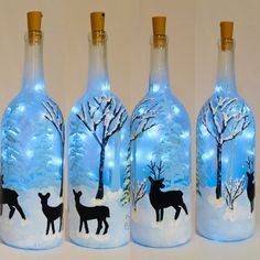 icu ~ Pin on Crafts ~ Deer Painted Wine Bottle Painted Lighted Bottle Bottle Lamp image 9 Glass Bottle Crafts, Wine Bottle Art, Painted Wine Bottles, Lighted Wine Bottles, Bottle Lights, Bottle Bottle, Bottle Lamps, Vodka Bottle, Liquor Bottles