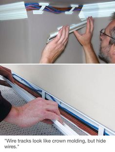 I must find this! Wiretracks look like crown molding, but hide wires. I must find this! Wiretracks look like crown molding, but hide wires. Do It Yourself Furniture, Ideas Prácticas, Ideas Para Organizar, Baseboards, Baseboard Molding, Wainscoting, Home Repair, Home Hacks, Home Organization