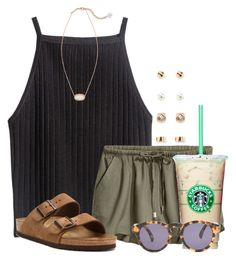 """Going for that tumblr look"" by flroasburn ❤ liked on Polyvore featuring Birkenstock, Illesteva, Forever 21 and Kendra Scott"