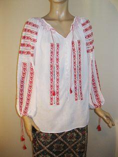 Marion Ravenwood Indiana Jones hand embroidered peasant blouse S M size Indiana Jones Costume, Marion Ravenwood, Peasant Blouse, Tunic, Embroidered Blouse, Blouse Styles, Costumes For Women, Black Blouse, Women Wear