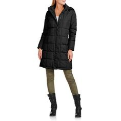 Faded Glory Women's Long Hooded Puffer Coat - Walmart.com