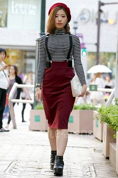 fall style red skirt