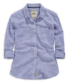 Look at this #zulilyfind! Navy Linen-Blend Button-Up Top #zulilyfinds