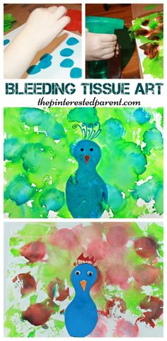 Bleeding Tissue Paper Art - Peacock arts and crafts for kids