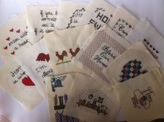 """Lot of Completed Cross Stitch Squares 5 1 2"""" Country Quilting Craft Frame 