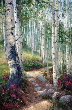 A skinny rocky sunlit dirt path through a aspen forest.. Original Painting