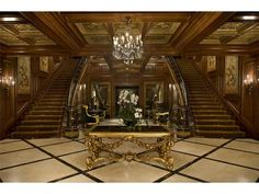 Late Billionaire Mel Simon House Asherwood in Carmel, IN-The main lobby and staircases leading to the second floor