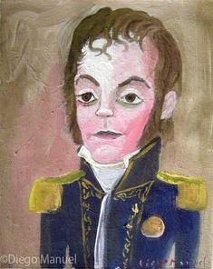 Martin de Pueyrredon ,22 x 18 cm. , 2001 . Cuadro en venta de la Serie Historia Argentina del artista plastico Diego Manuel