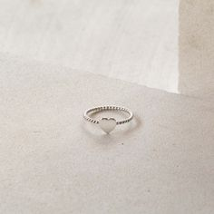 Tiny Heart Ring with Rope Band in Sterling Silver - donbiujewelry - 1