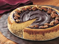 Butter Pecan Cheesecake with Chocolate Glaze
