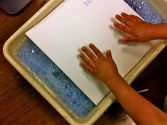 """This makes a great """"ocean"""" (water) background for painted paper collages (make fishes out of painted paper). It is super easy and I do have some very helpful hints to make it a sure fire success. I video taped the process of making a bubble print – for visual learners like myself (if I see …"""