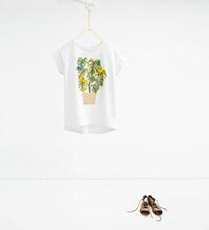 ZARA - SALE - Flowerpot and appliqué T-shirt