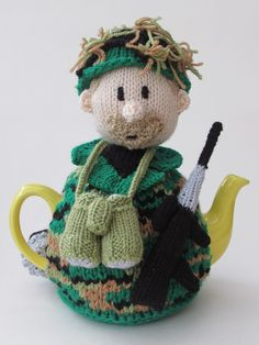 The Soldier tea cosy from the TeaCosyFolk range of tea cosies has bags of character. You can buy the Soldier tea cosy as a finished hand crafted tea cosy , or as a Soldier tea cosy knitting pattern to make your own tea cosy with character