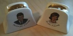 MAKE AN OFFER: President JFK John F. Kennedy & Jackie O Vintage Salt & Pepper Shakers Gold-Trim