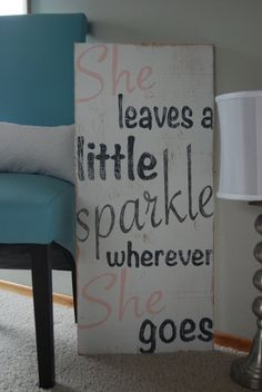 She Leaves A Little Sparkle Wherever She Goes - Hand Painted Wooden Sign - white, pink and dark gray with glitter on Etsy, I can do this! Painted Wooden Signs, Wood Signs, Hand Painted, Girl Nursery, Girls Bedroom, Bedrooms, Nursery Room, Nursery Decor, Bedroom Ideas