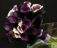 Gorgeous bouquet of purple, purple with cream and black/deep purple mini callas