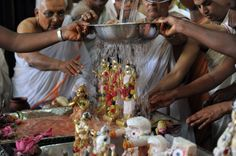 Mar 28 - Ram Navami (Hindu) Hindu priest wash statuettes of the Hindu deities Hanuman (L), Laxman (2L), Lord Rama (2R) and Goddess Sita (R) at the International Society for Krishna Consciousness (ISKCON) temple in Ahmedabad, on the occasion of Rama Navami. Ram Navami commemorates the birth of Hindu God Lord Rama who is remembered for his prosperous and righteous reign, which has become synonymous with a period of peace and prosperity.