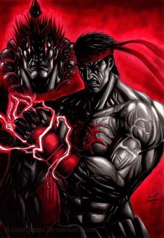 murderous_intent akuma evil ryu street fighter game fan art by_bustergarou